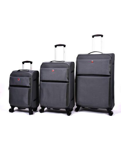 סט מזוודות סוויס פרו SWISS PRO-אפור כהה