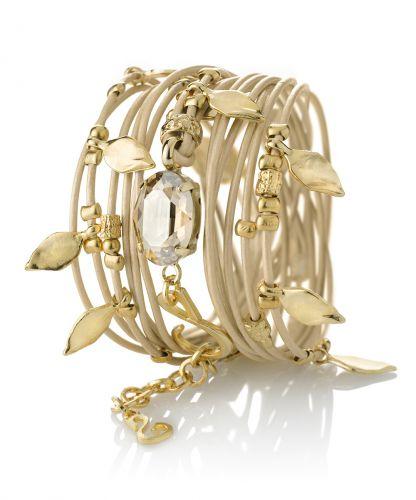צמיד עור עם אלמנטים בצורת עלים המצופים כסף/זהב