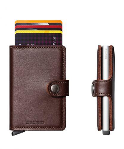 ארנק אלומיניום + עור RFID Secrid Mini Wallet -חום כהה